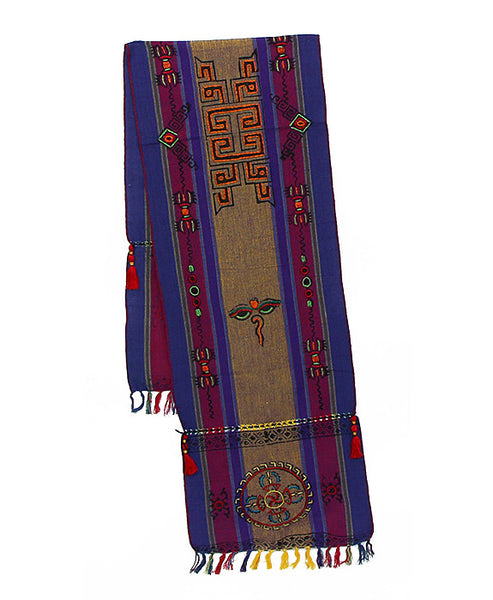 Tibetan Buddhist Scarf in Dark Yellow Purple and Indigo