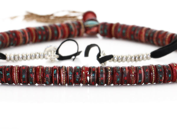Tibetan Buddhist Mala Beads Red Inlaid Bone Close Up