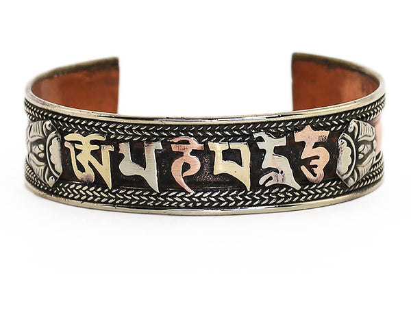 Tibetan Cuff Bracelet with Copper And Brass Mantra