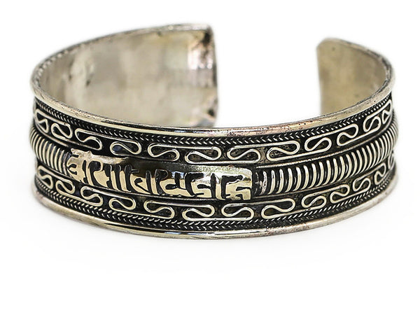 Tibetan Cuff Bracelet with Silver Mantra and Scrollwork