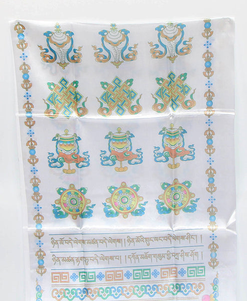 Tibetan Kata Silk Scarf with Colorful Buddhist Symbols