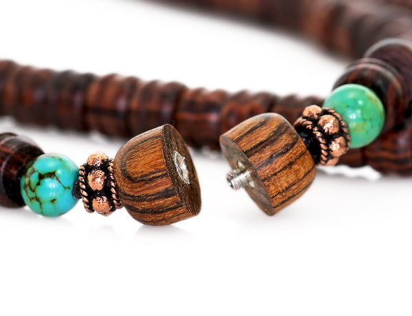 Tibetan Mala Bead Necklace Bocote Turquoise and Kingwood Clasp Open