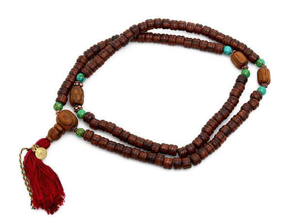 Tibetan Mala Bead Necklace Bocote Turquoise and Kingwood (top-view)