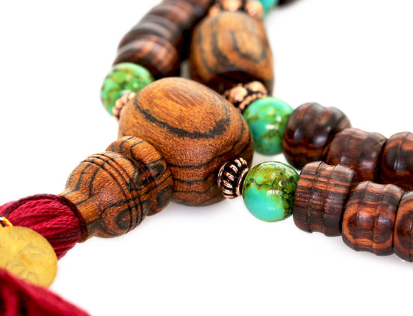 Tibetan Mala Bead Necklace Bocote Turquoise and Kingwood
