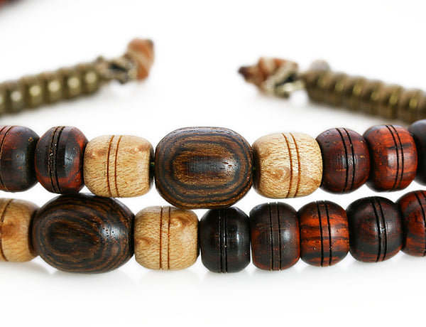 Tibetan Mala Beads with Cocobolo and Bocote Wood Marker Beads