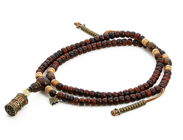 Tibetan Mala Beads with Cocobolo and Bocote Wood Top View