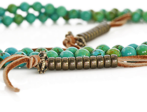 Tibetan Mala Beads with Turquoise and Antiqued Mala Counters