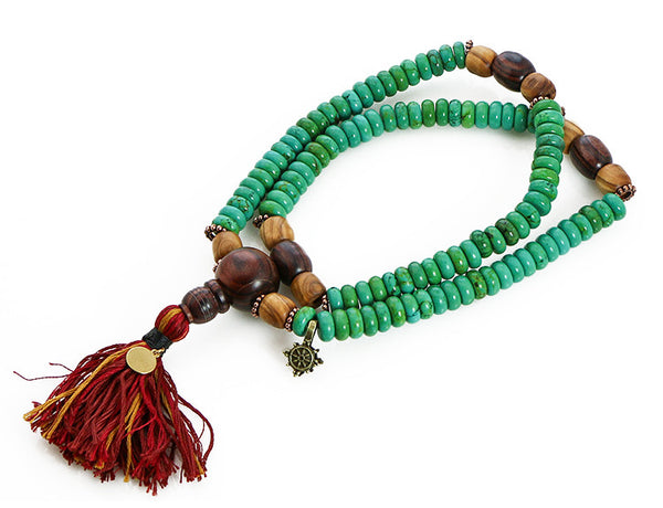 Tibetan Mala Beads with Turquoise and Kingwood Top View