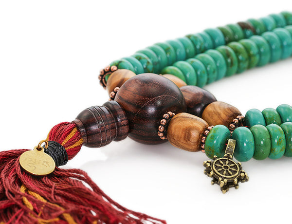 Tibetan Mala Beads with Turquoise and Kingwood