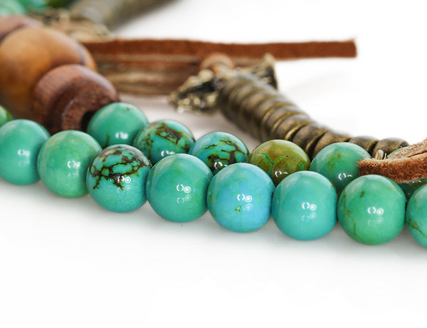 Tibetan Mala Beads with Turquoise and Olivewood Close Up