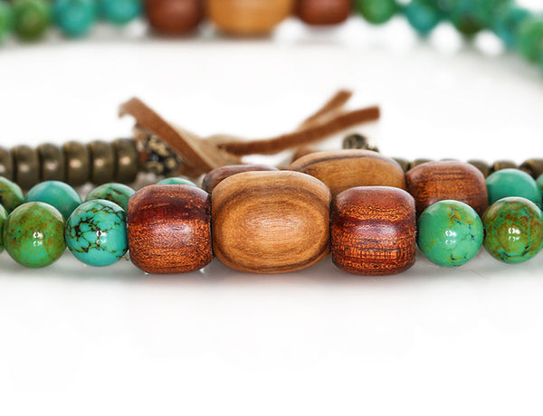 Tibetan Mala Beads with Turquoise and Olivewood Marker Beads