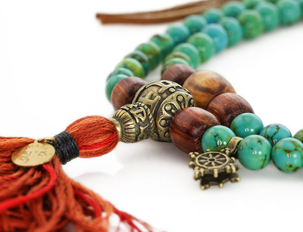 Tibetan Mala Beads with Turquoise and Olivewood
