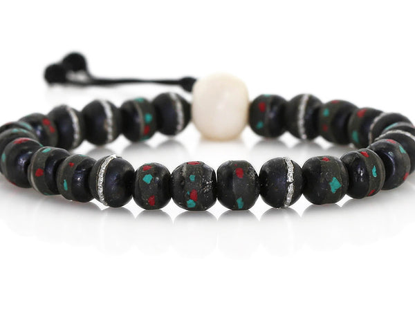 Tibetan Mala Bracelet Black Inlaid Bone
