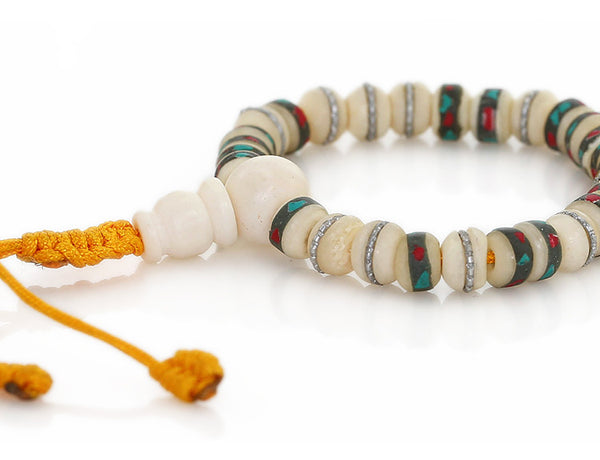 Tibetan Mala Bracelet with Inlaid White Bone