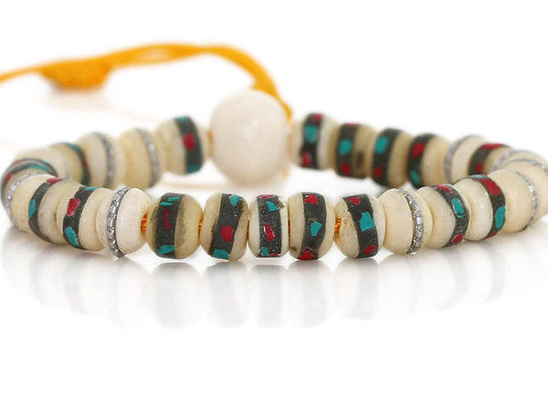 Tibetan Mala Bracelet with White Inlaid Bone Close Up