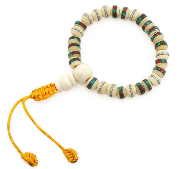 Tibetan Mala Bracelet with White Inlaid Bone Top View