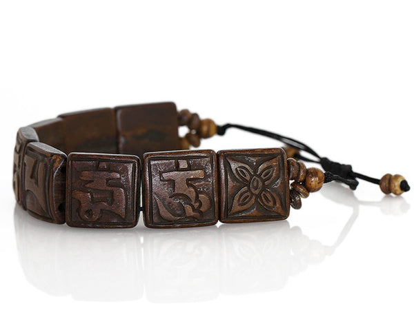 Tibetan Mantra Bracelet with Yak Bone Tiles Side View