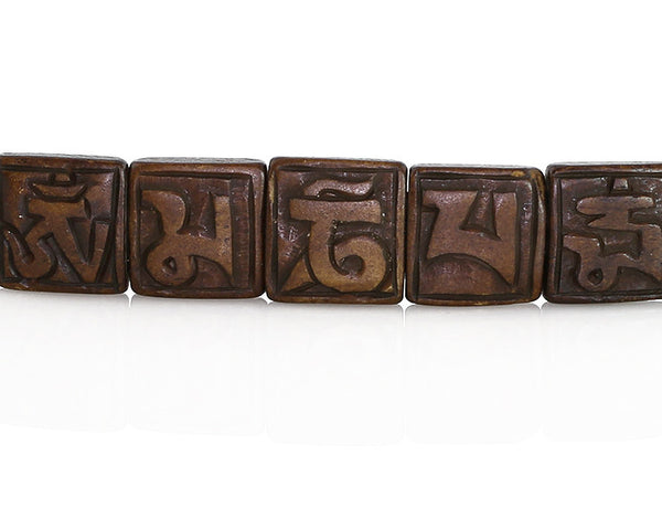Tibetan Mantra Bracelet with Yak Bone Tiles Top View