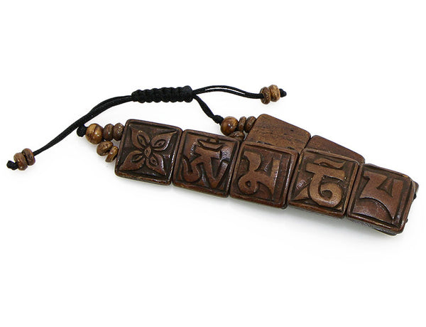 Tibetan Mantra Bracelet with Yak Bone Tiles