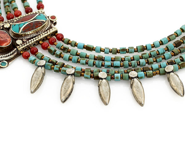 Tibetan Necklace Silver Spikes and Turquoise Beads Close Up