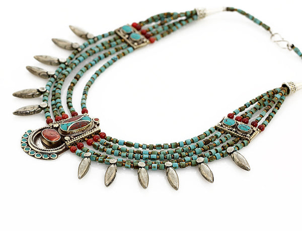 Tibetan Necklace Silver Spikes and Turquoise Side View