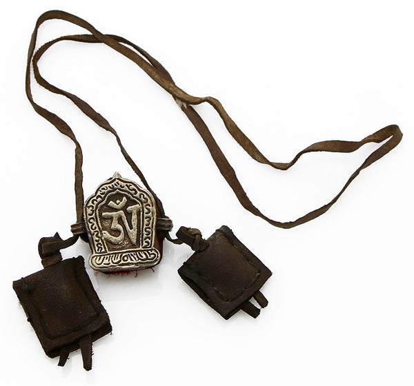 Tibetan Necklace with Om Gau and Leather Satchels