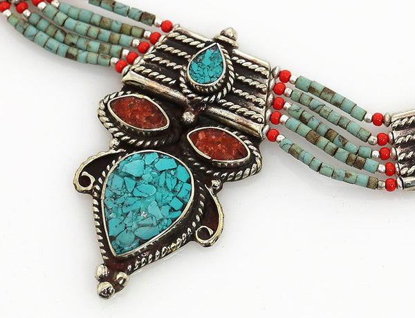 Tibetan Necklace with Vintage Pendant and Turquoise Beading