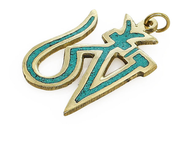 Tibetan Pendant Brass and Turquoise Tibetan Om Symbol Side View
