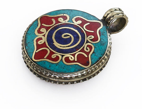Tibetan Pendant Powdered Gemstone Inlaid Dorje Design Side View