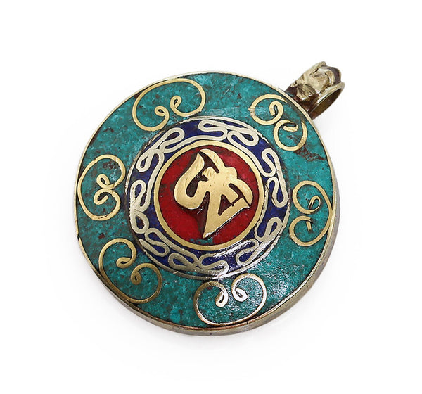 Tibetan Pendant with Crushed Turquoise Coral and Om Symbol