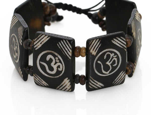 Tibetan Yoga Bracelet Carved Om Symbol Tiles Close Up
