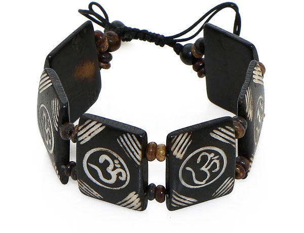 Tibetan Yoga Bracelet with Carved Om Symbol Tiles Top View