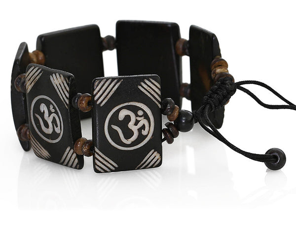 Tibetan Yoga Bracelet with Carved Om Symbols On Tiles