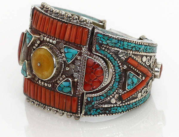 Vintage-Inspired Silver Tibetan Cuff Bracelet Imbeded with Turquoise Amber and Coral