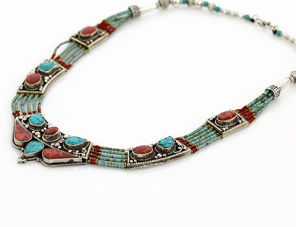 Vintage Style Silver Tibetan Necklace Antiqued Beading Side View