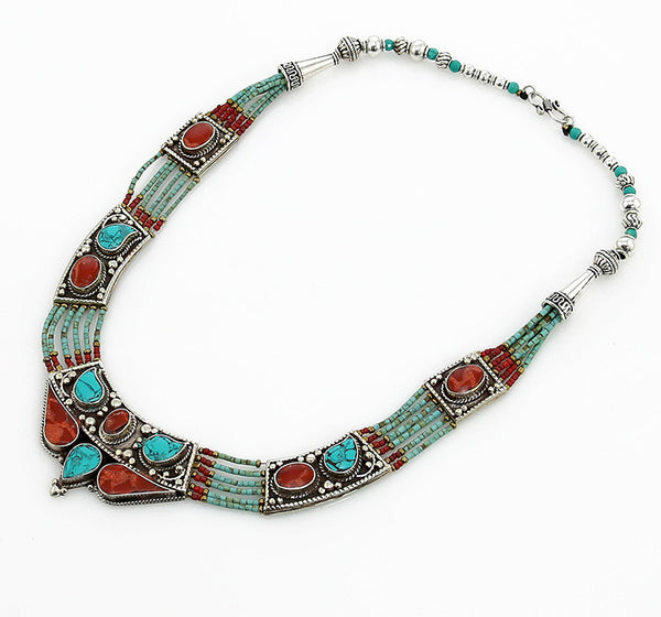 Vintage Style Silver Tibetan Necklace with Antiqued Beading