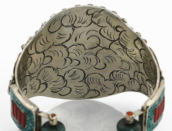 Vintage Style Tibetan Cuff Bracelet Engraved Gallery Close Up