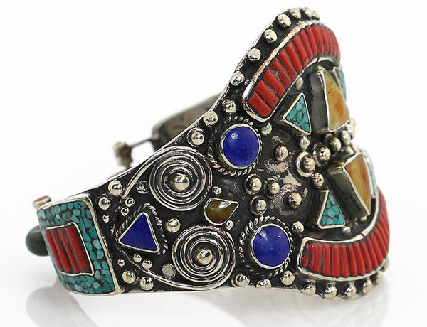 Vintage Style Tibetan Cuff Bracelet Inlaid with Traditional Gemstone