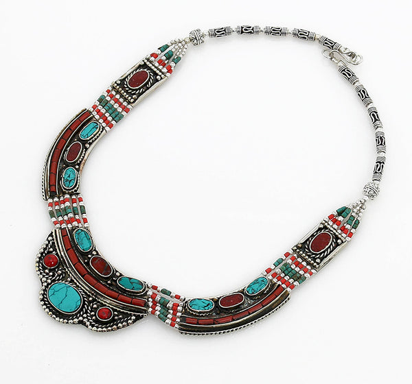 Vintage Style Tibetan Necklace with Gemstone Inlaid Silver Focals