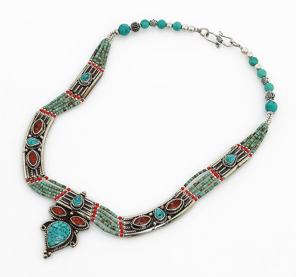 Vintage Tibetan Necklace with Turquoise Beading