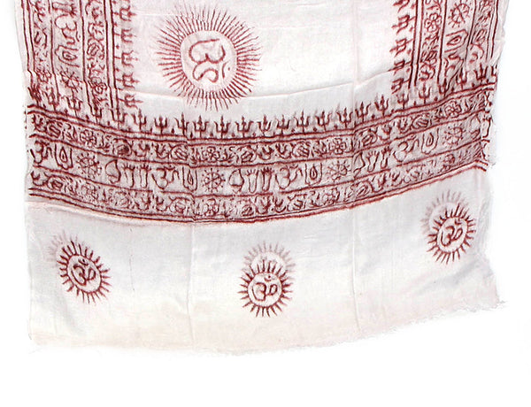 White Cotton Yoga Scarf Bottom
