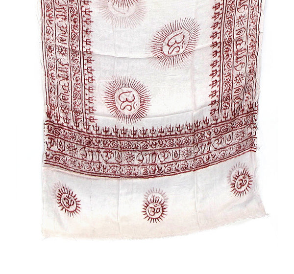White Cotton Yoga Scarf Folded