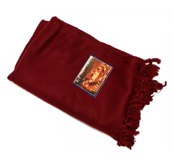 Yak Wool Red Tibetan Monks Shawl Folded