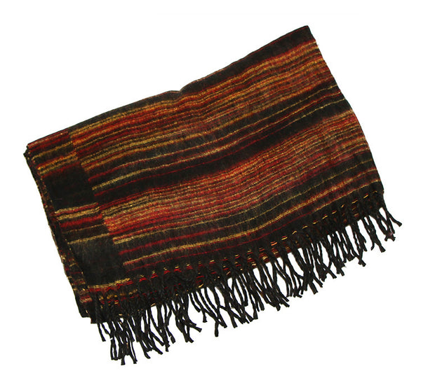 Yak Wool Shawl with Red Black And Yellow Striped Pattern Folded