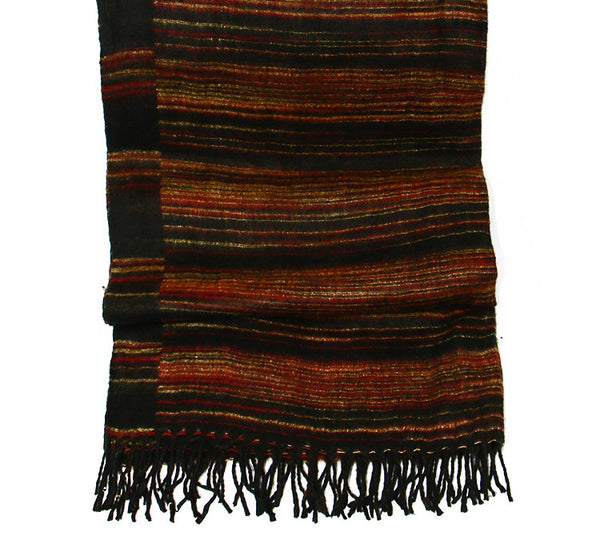 Yak Wool Shawl with Red Black and Yellow Striped Pattern