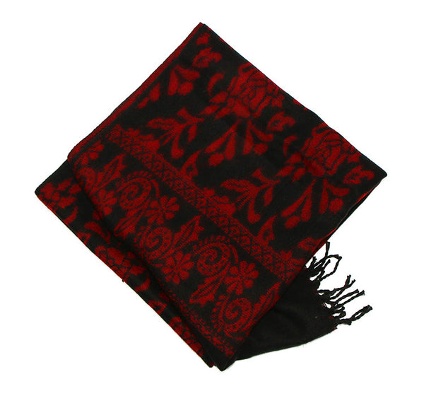 Yak Wool Shawl with Reversible Red Rose Pattern Underneath