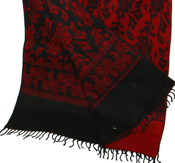 Yak Wool Shawl with Reversible Red Rose Pattern