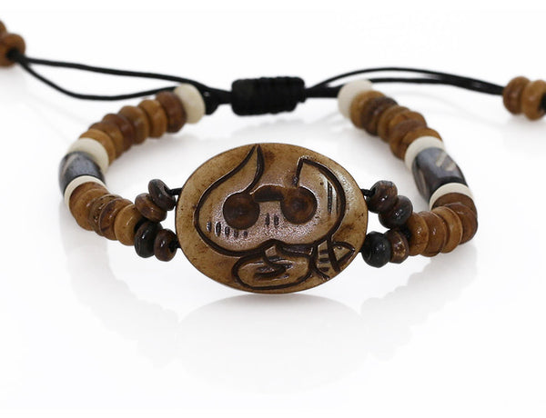 Beaded Yoga Bracelet wtih Carved Sanskrit Om Symbol
