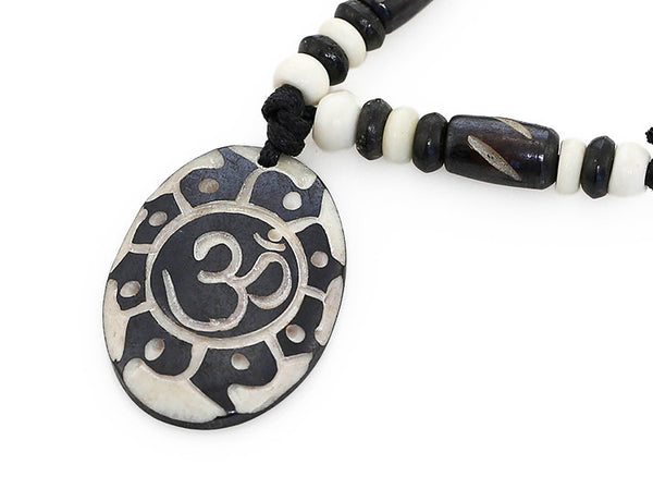 Yoga Necklace Carved Sun and Om Symbol Pendant Close-Up