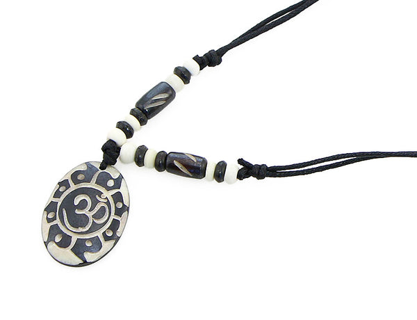 Yoga Necklace with Carved Sun and Om Symbol Pendant